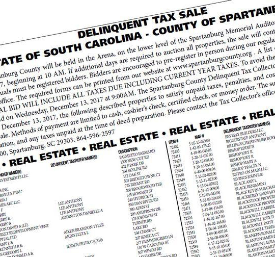 Spartanburg County Delinquent Tax Sale